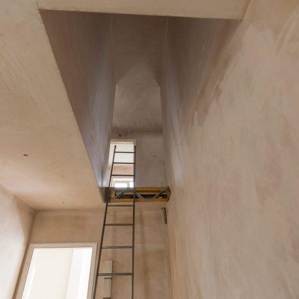 Plastering in stair way